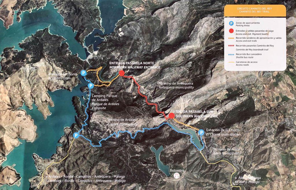 Caminito del Rey overzicht en plattegrond Andalusië - Reislegende.nl
