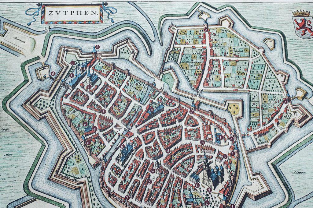 Historische stadskaart / plattegrond Zutphen - 23 tips en bezienswaardigheden in Zutphen - Reislegende.nl