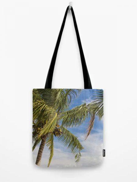 Katoenen tas met foto van palmbomen - Reislegende.nl