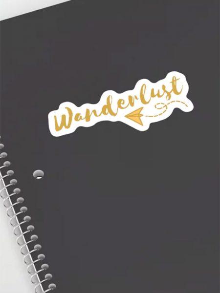 Wanderlust sticker met illustratie - Reislegende.nl
