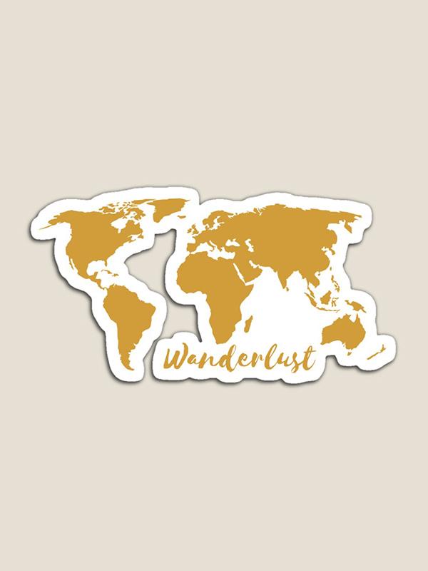 Wanderlust wereldkaart magneet - Reislegende.nl